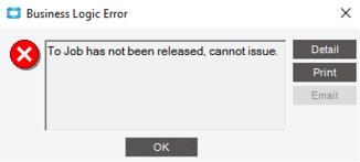 Epicor Error Message